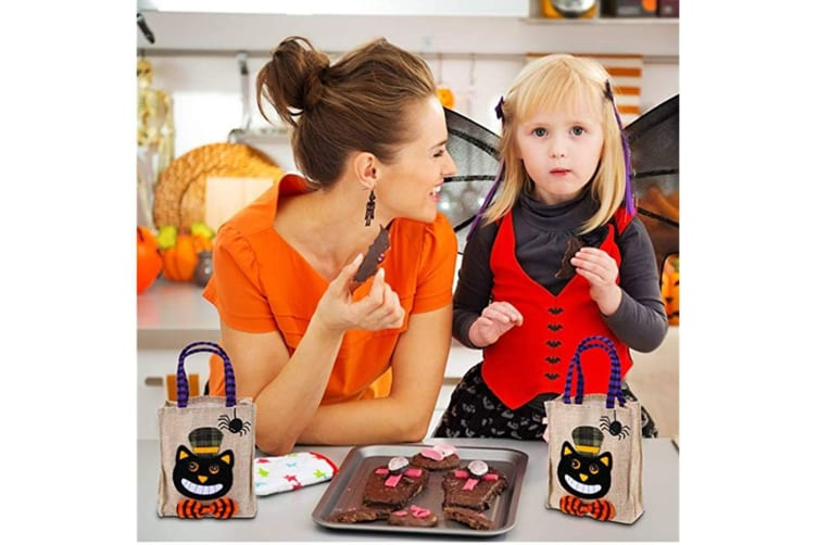 Candy Bags Trick Or Treat Cartoon Pumpkin Bag For Kids Halloween Themed Party Gift Favor,4 Packs