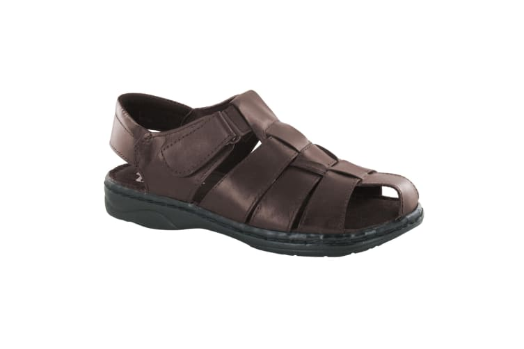 Moza-x Mens Closed Toe Leather Sandals (Brown Leather) (UK Size 10)