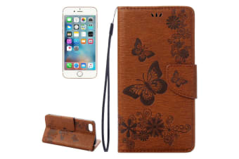 For iPhone 8 7 Wallet Case Elegant Butterflies Embossed Leather Cover Brown