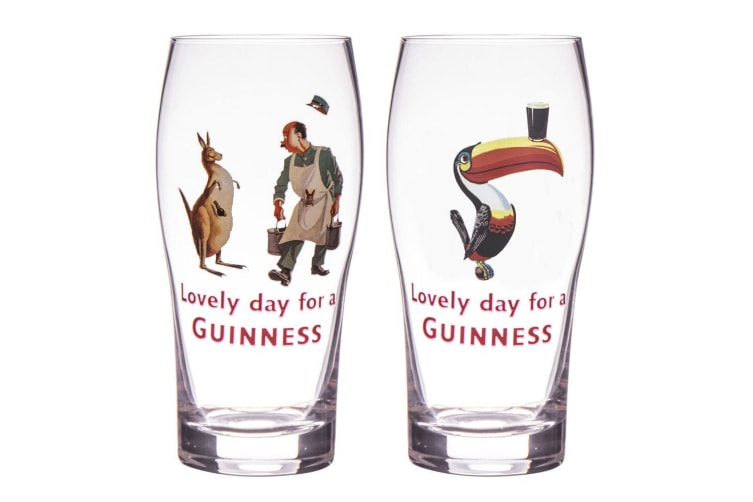 2pc Guinness Gilroy 568ml Pint Glasses Beer Party Bar Pub Mug Drinking Cup Clear