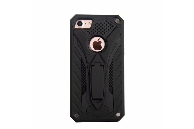 For iPhone 8 & 7 Case  Armour Strong Shockproof Tough Cover Kickstand  Black