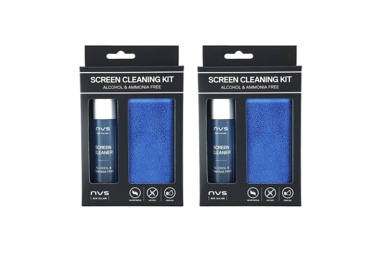 2x 30ml NVS Cleaner/Microfibre Cloth Cleaning Kit f/Computer Screens/Monitor