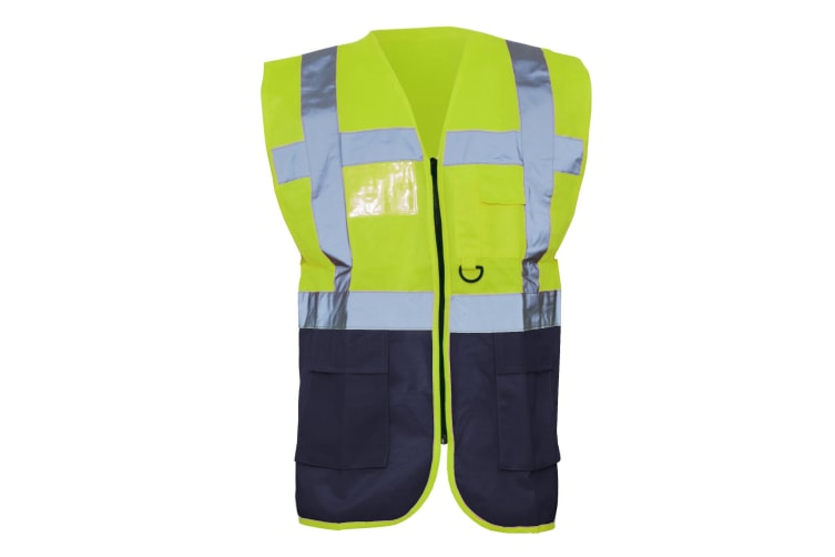 Yoko Hi-Vis Premium Executive/Manager Waistcoat / Jacket (Hi Vis Yellow/Navy) (S)