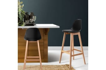 Artiss 2x Bar Stools Wooden Bar Stool Dining Chairs Kitchen Padded Leather Black