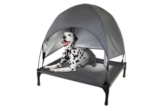 Paws & Claws 112x90cm Heavy Duty Steel Elevated Pet Large Dog Bed w/ Canopy Grey