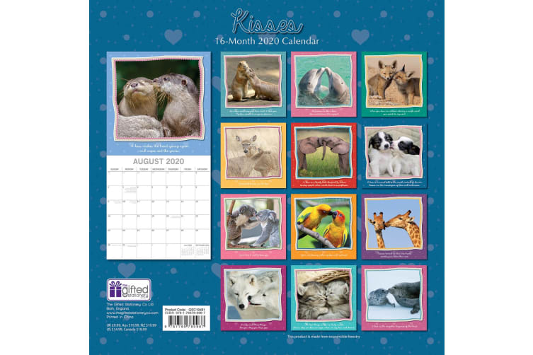 Kisses 2020 Premium Square Wall Calendar 16 Months New Year Christmas Decor Gift
