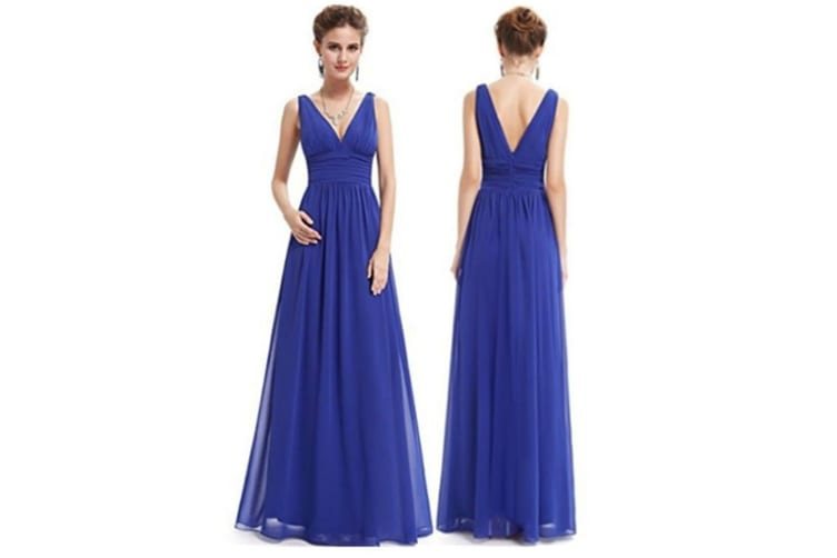 Double V Neck Elegant Long Bridesmaid Dress Chiffon Wedding Evening Dress Blue 2Xl