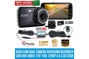 "Elinz Dash Cam Dual Camera Reversing Recorder Car DVR Video 170deg FHD 1296P 4"" LCD 32GB"