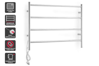 Kromo 4 Bar Stainless Steel Heated Towel Rail (75cm Wide)