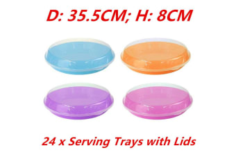 24 x Round Colored Plastic Food Serving Base Tray Tray Plate Clear Lid Container