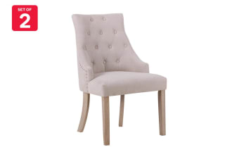 Shangri-La Set of 2 French Provincial Allete Dining Chairs (Beige)