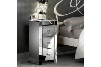 Levede Mirrored Bedside Tables Chest Nightstand Crystal Glass Table 3 Drawers