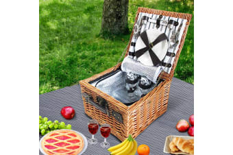 Vintage 2 Person Picnic Basket Baskets Outdoor Insulated Blanket