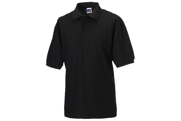 Russell Mens Classic Short Sleeve Polycotton Polo Shirt (Black) (XL)