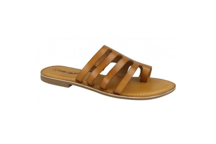 Leather Collection Womens/Ladies Flat Strappy Sandals (Tan Leather) (UK Size 7)