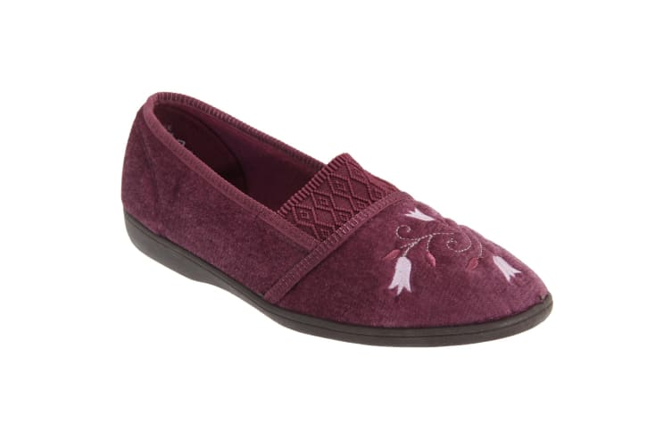 Sleepers Womens/Ladies Inez Gusset Throat Patterned Slippers (Heather) (5 UK)