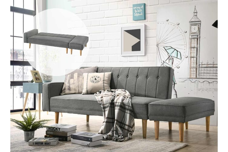 Amazing Scandinavian 3 Seater Sofa Bed W Ottoman Futon Couch Light Grey Theyellowbook Wood Chair Design Ideas Theyellowbookinfo