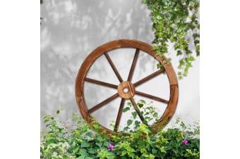 Large Wooden Wagon Wheel Rustic Outdoor Garden Decor Indoor Wall Feature