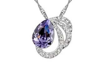 Luxury Crystal Butterfly Lovers Lady Pendant Necklace Purple