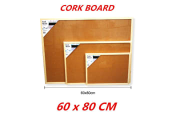 Cork Board 60x80cm Pins Corkboard Pinboard Notice Large Memo Photos Wooden Frame Wall