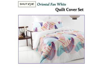 Oriental Fan White Quilt Cover Set DOUBLE by Shuteye