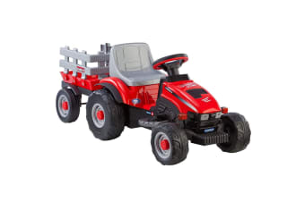 Case IH 6V Electric LIL Tractor w/ Trailer Ride On Red 2y+