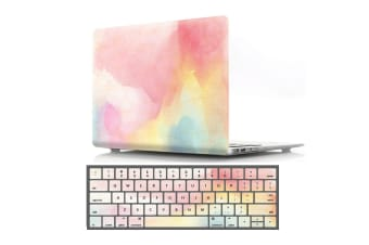 "Marble Frosted Matte Hard Case with Free Keyboard Cover for MacBook Pro 13"" 2016-2018 A1706 A1989 (With Touch Bar)-Rainbow Mist"