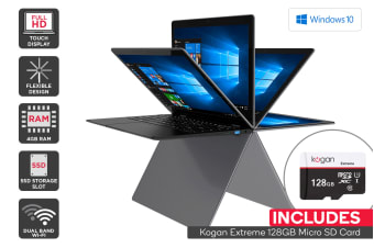 "Kogan Atlas 13.3"" Y300 Convertible Notebook + 128GB Micro SD Card Bundle"