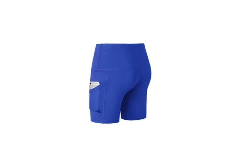 Women'S Shorts High Waist Workout Yoga Shorts Tummy Control Shorts Side Pocket - Blue Blue XXL