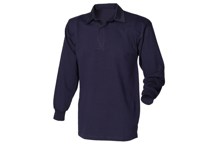 Front Row Long Sleeve Classic Rugby Polo Shirt (Navy/Navy) (XL)