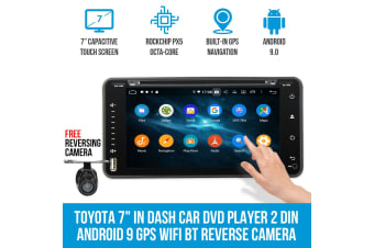 """Elinz Toyota 7"""" In Dash Car DVD Player 2 DIN Android 9 GPS WiFi BT Head Unit Reverse Camera"""