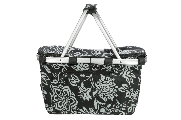 Sachi Collapsible Foldable Insulated Picnic Shopping Basket w Lid Camellia Black