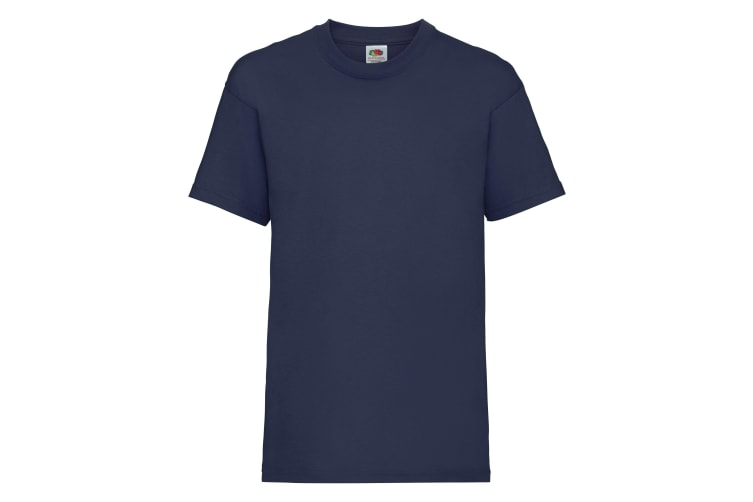 Fruit Of The Loom Childrens/Kids Unisex Valueweight Short Sleeve T-Shirt (Pack of 2) (Navy) (7-8)