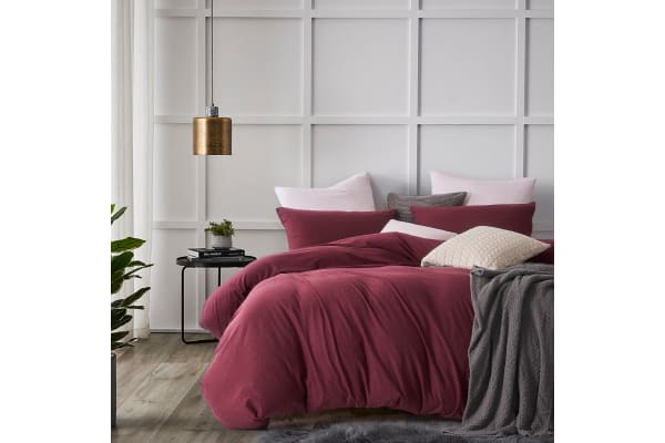 Gioia Casa Jersey Cotton Quilt Cover (Queen/Burgundy)