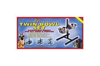 Lazy Bones Height Adjustable Twin Bowl Set (Black/Silver) (One size)