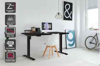 Ergolux Standing Desk Electric Single Motor - Memory (Black)