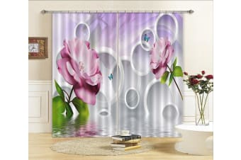 3D Flowers And Rings 298 Curtains Drapes, 203cmx213cm(WxH) 80''x 83''
