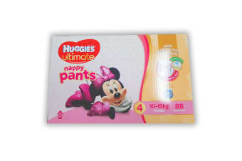 88PK Huggies Ultimate Size 4 Girl 10-15kg Toddler Mickey 12h Nappy Pants/Pull Up