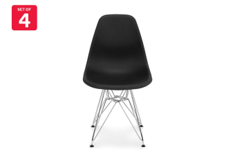 Shangri-La Set of 4 DSR Dining Chairs - Eames Replica (Black/Chrome)
