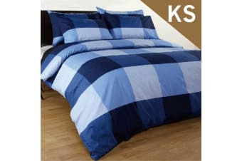 King Single Size Magic Check Quilt/Doona Cover Set
