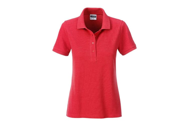 James and Nicholson Womens/Ladies Basic Polo (Carmine Red Melange) (XL)