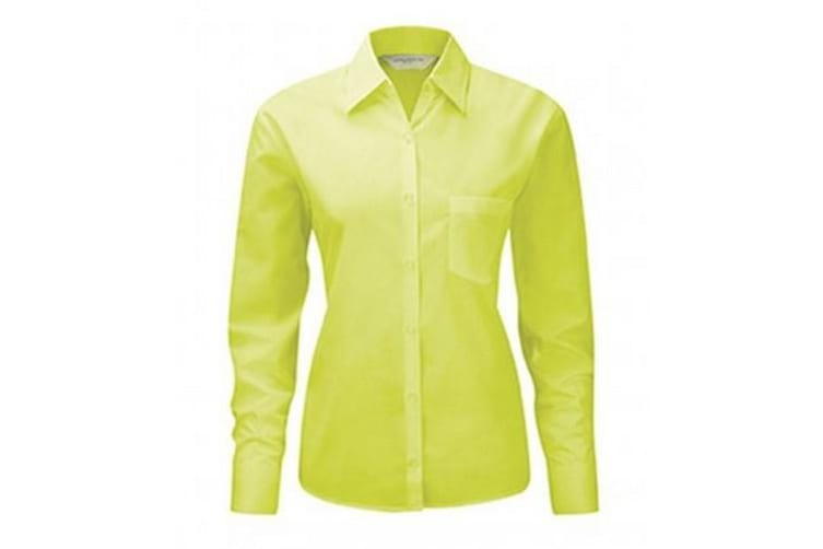 Russell Collection Ladies/Womens Long Sleeve Shirt (Lime) (S)
