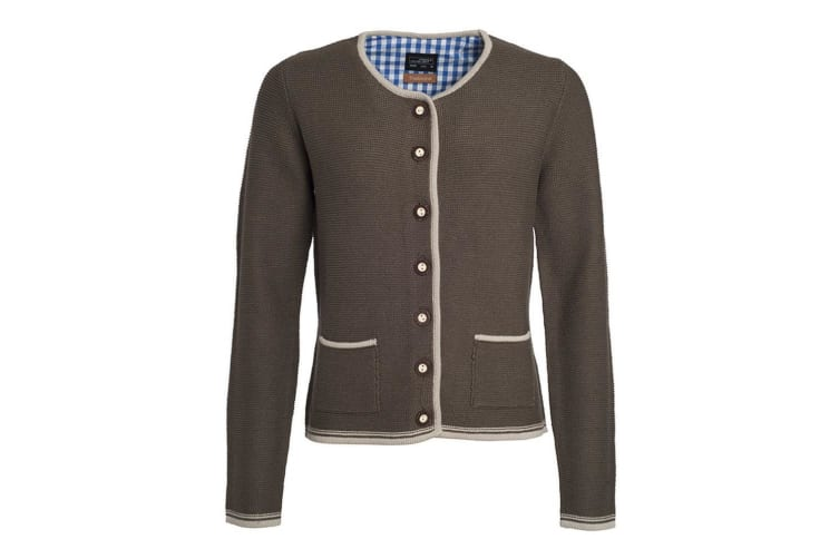 James and Nicholson Womens/Ladies Traditional Knitted Jacket (Brown Melange/Beige/Royal Blue) (XL)