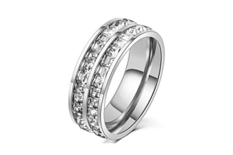 Titanium Stainless Steel High Polished 18K Gold Plated Channel Set Cubic Zirconia Engagement Band