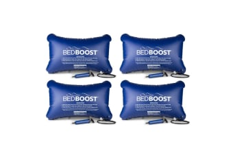 4PK Bed Boost Adjustable/Inflatable Mattress Sleep/Comfort Support/Cushion Blue