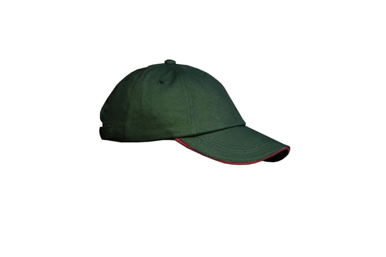 Result Unisex Low Profile Heavy Brushed Cotton Baseball Cap With Sandwich Peak (Pack of 2) (Forest/Red) (One Size)