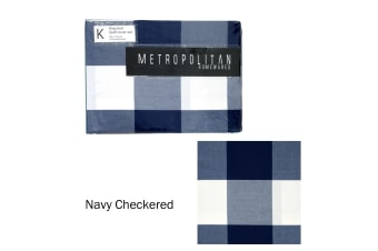 Navy Checkered Quilt Cover Set King by Metropolitan