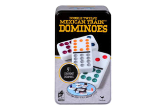 Cardinal Classic Double 12 Coloured Dots Dominoes w/Tin Case Family/Kids Game
