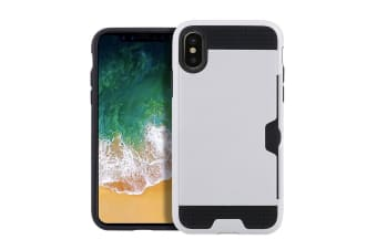 For iPhone XS X Case Elegant Brushed Armour Protective Cover Card Slot White