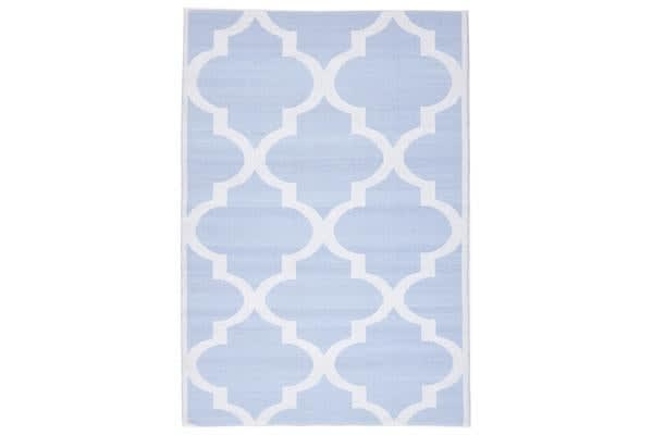 Coastal Indoor Out door Rug Trellis Sky Blue White 270x180cm